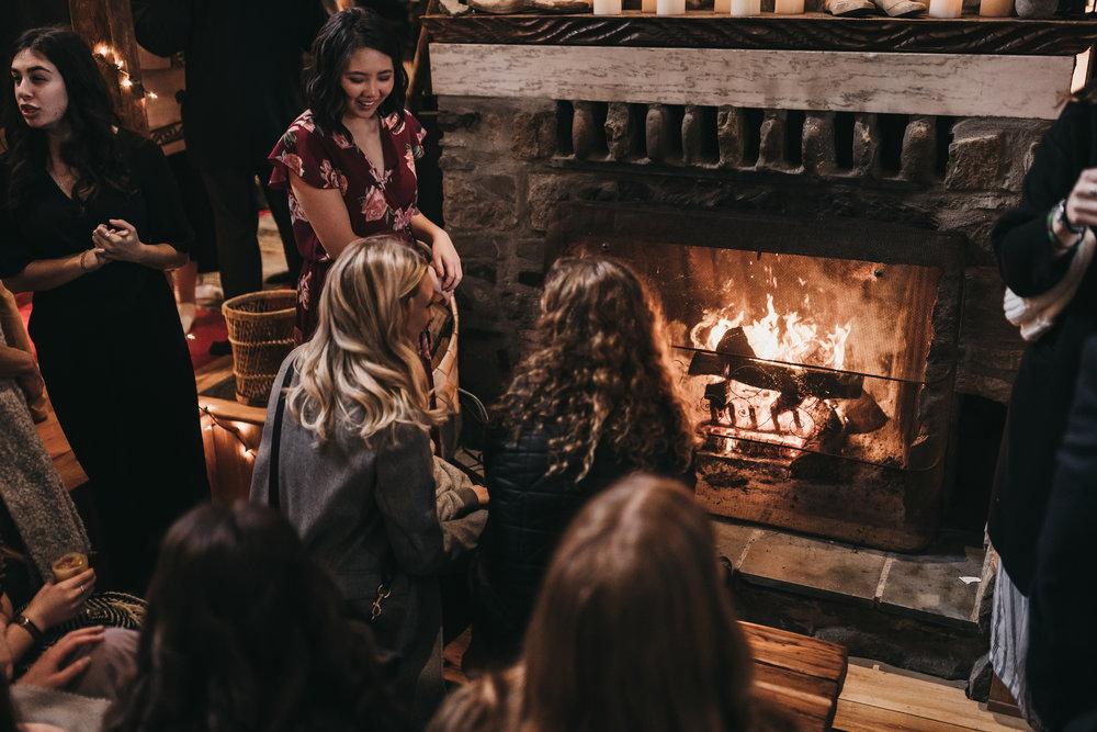 Airbnb Wedding fireplace