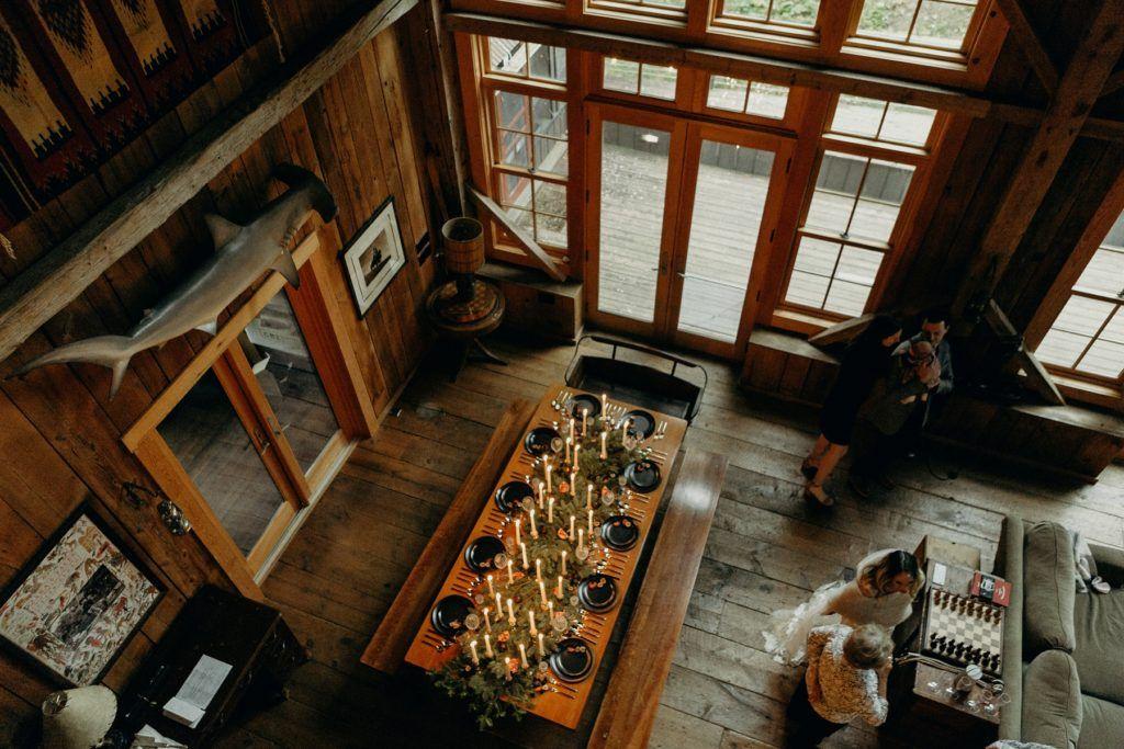 airbnb wedding with shark decor