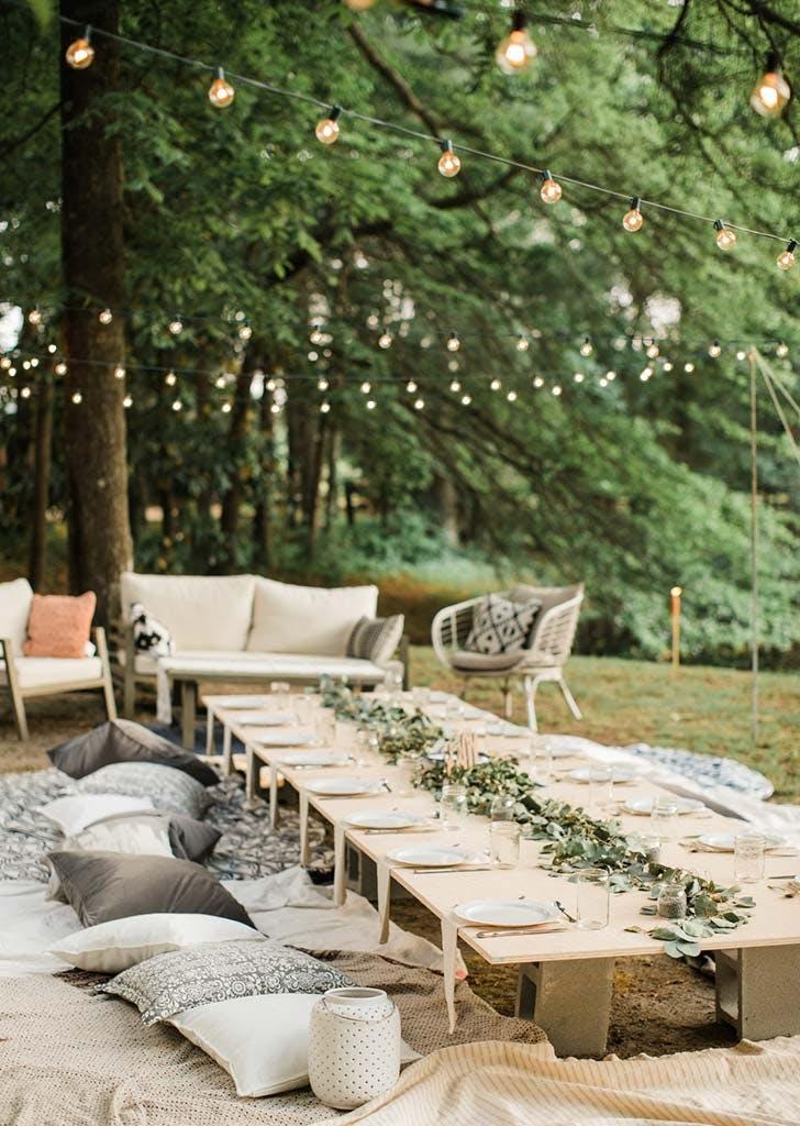 backyard micro wedding table set up