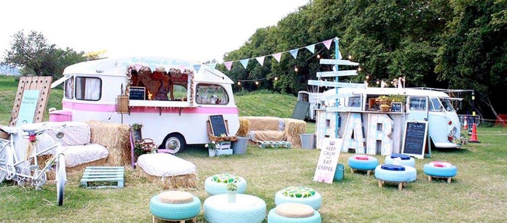 food truck wedding seating area