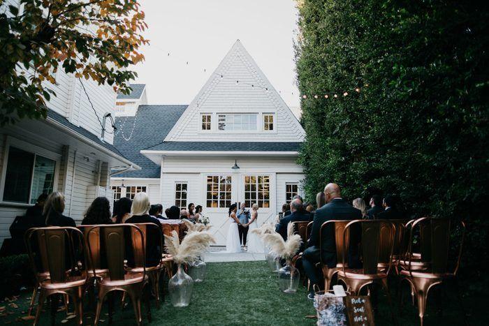 rustic backyard micro wedding