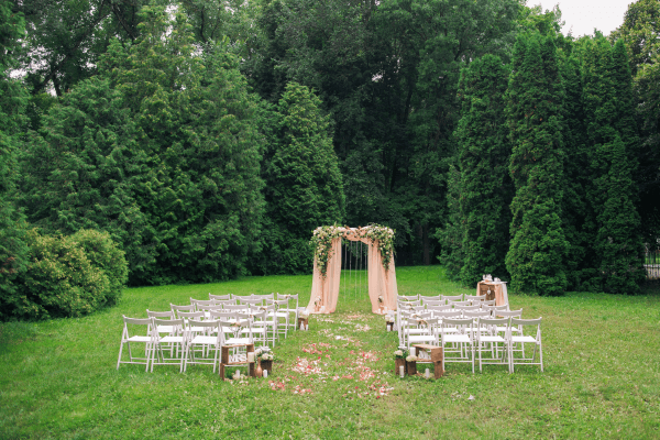 backyard micro wedding altar