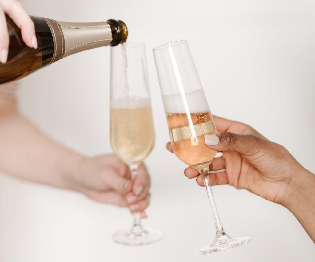 micro wedding champagne toast